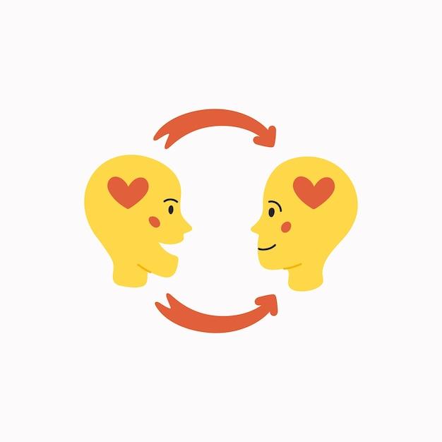 Empatia e conceito de troca de emoções Vetor Premium