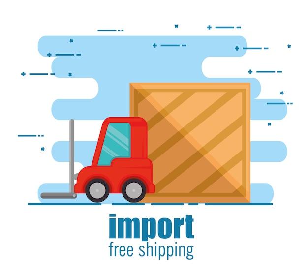 Empilhadeira de entrega com caixa de madeira Vetor Premium