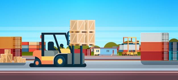 Empilhadeira empilhadeira empilhadeira caminhão equipamentos armazém entrega internacional conceito Vetor Premium