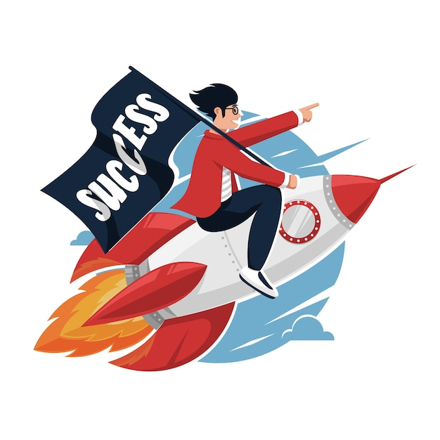 Empreendedores impulsionam foguetes para melhorar ou desenvolver estratégias de negócios Vetor Premium