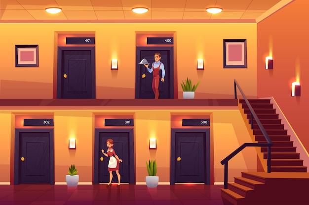 Empregada do hotel e garçom serviço clientes trazendo refeição no quarto e batendo a porta para a limpeza. Vetor grátis
