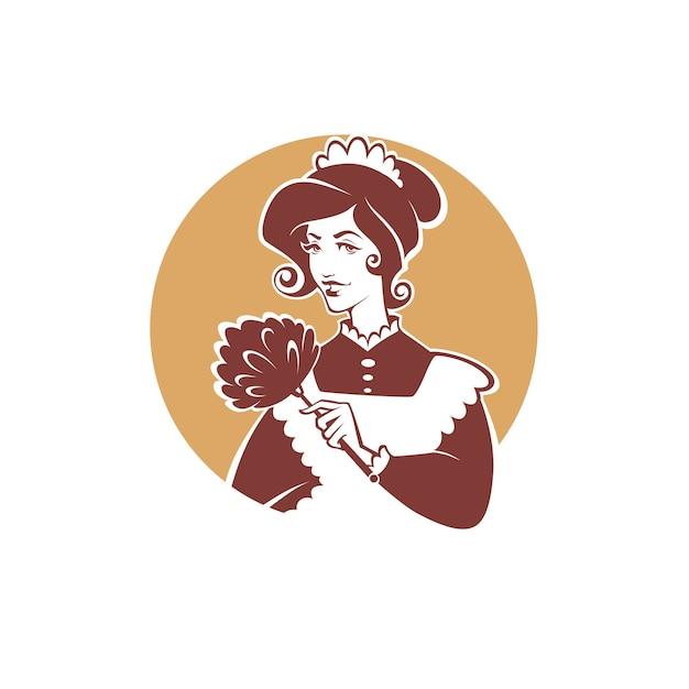 Empregada doméstica retrô, emblema de limpeza, logotipo, etiqueta Vetor Premium
