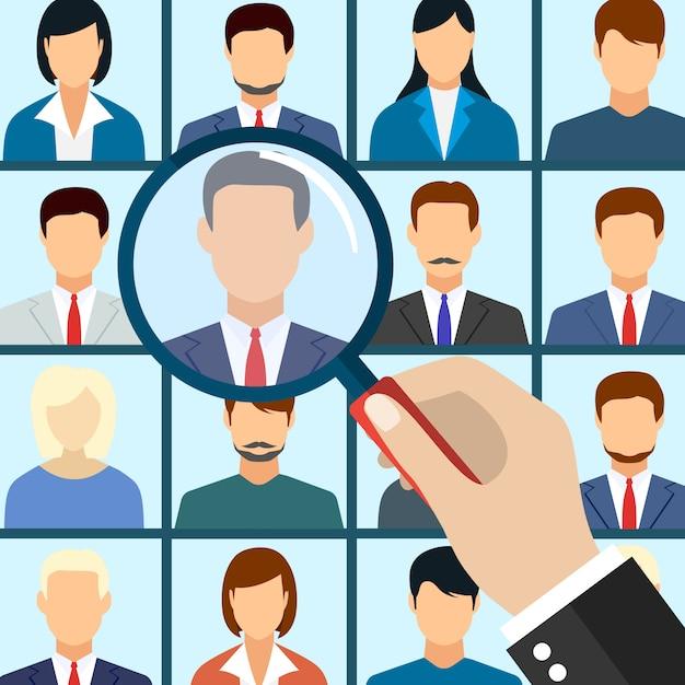 Empregado de gestão de recursos humanos selecione Vetor Premium