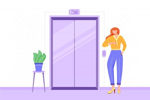 Empregado na ilustração de salão de escritório. funcionário esperando o elevador. interior do corredor de escritório. trabalhador indo para a reunião. candidato indo para a entrevista. personagem de desenho animado de empresária Vetor Premium