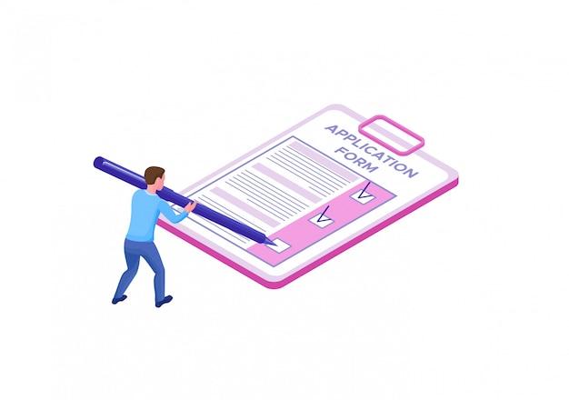 Empregado, preenchendo o formulário de candidatura Vetor Premium