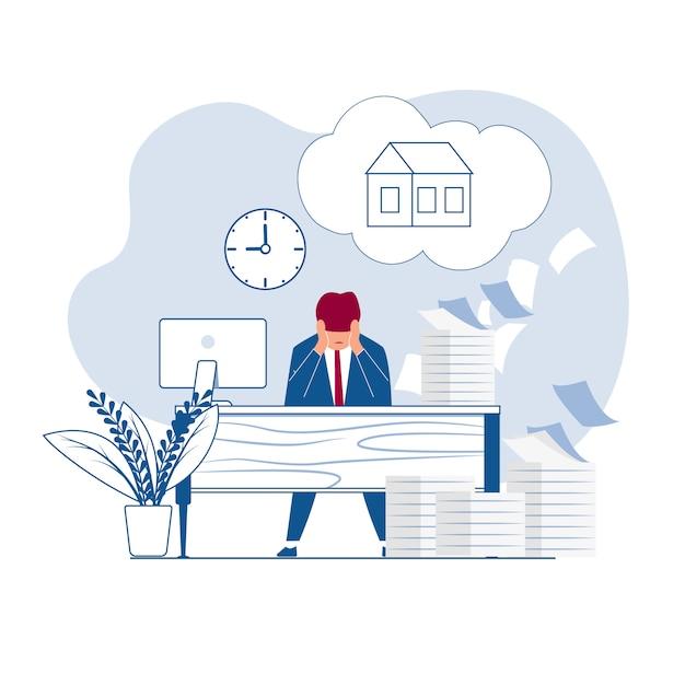 Empregado sonha com descanso em casa Vetor Premium