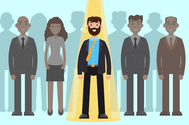 Empregador de escolha. processo de recrutamento de negócios, gestão de grupo de funcionários. Vetor Premium