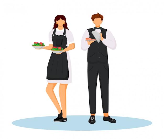Empregados de mesa do hotel na ilustração de cor lisa uniforme. Vetor Premium