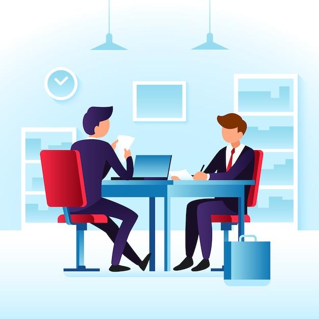 Empregados do trabalho do contendor e entrevista de trabalho Vetor Premium