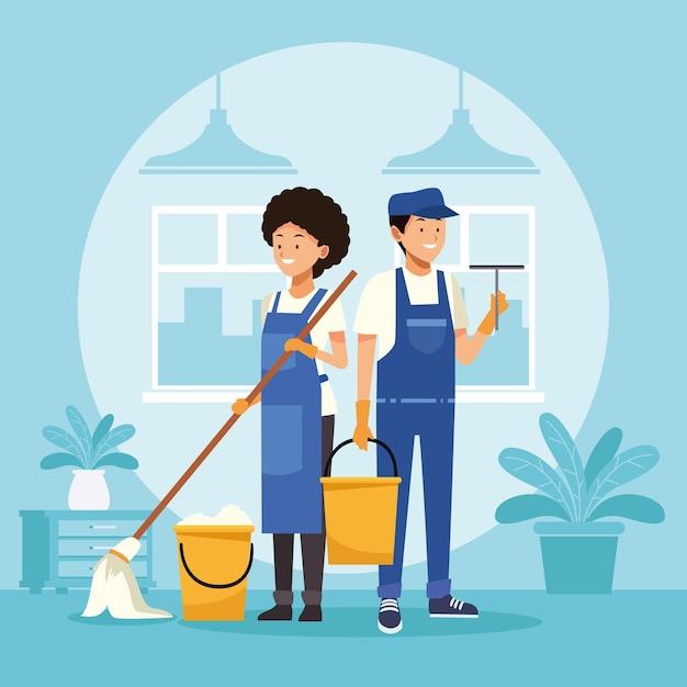 Empregados domésticos de casal com esfregão e balde Vetor Premium