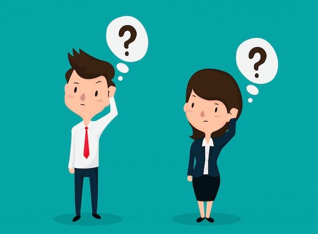 Empregados homens e mulheres enfrentam uma pergunta confusa Vetor Premium