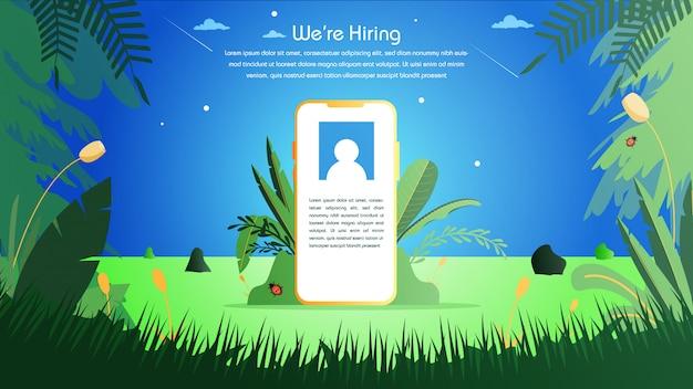 Emprego contratação de recrutamento online Vetor Premium