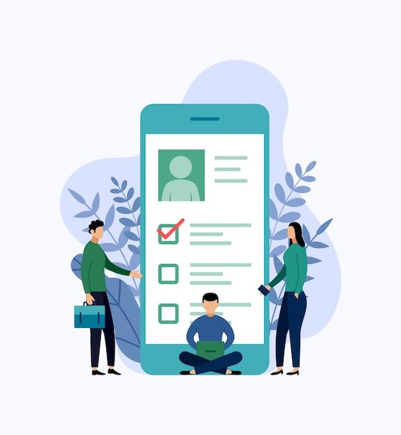 Emprego, contratação e recrutamento on-line, lista de verificação, questionário, ilustração em vetor conceito negócio Vetor Premium