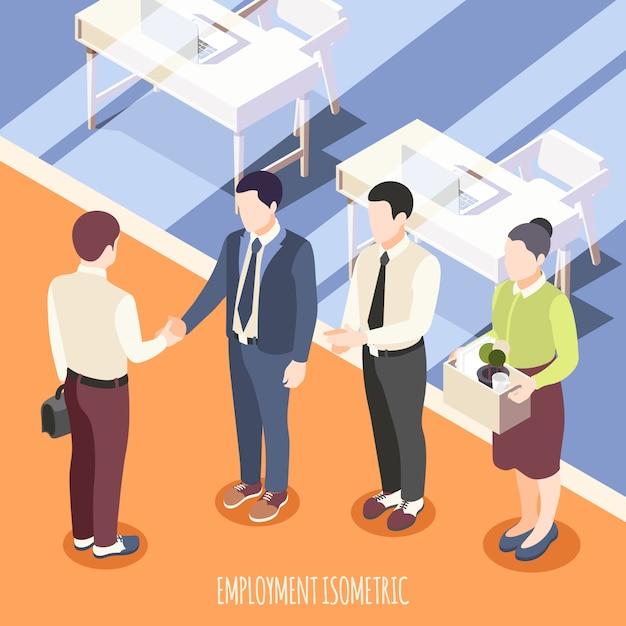Emprego isométrico com funcionários conhecer novo funcionário em ilustração em vetor interior escritório Vetor grátis