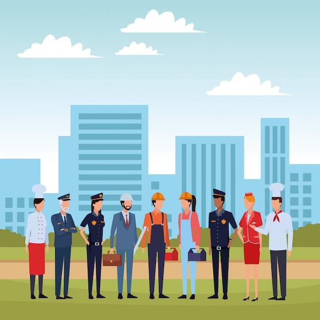 Empregos e profissões avatar Vetor Premium