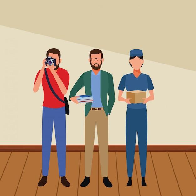 Empregos e profissões avatars Vetor Premium