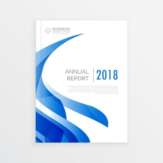 Empresa de design brochura modelo de negócios com onda azul página do relatório anual em tamanho a4 Vetor grátis