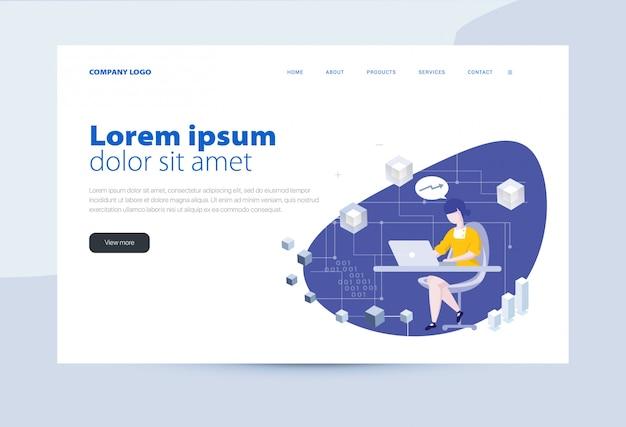 Empresa de modelo de página de destino Vetor Premium