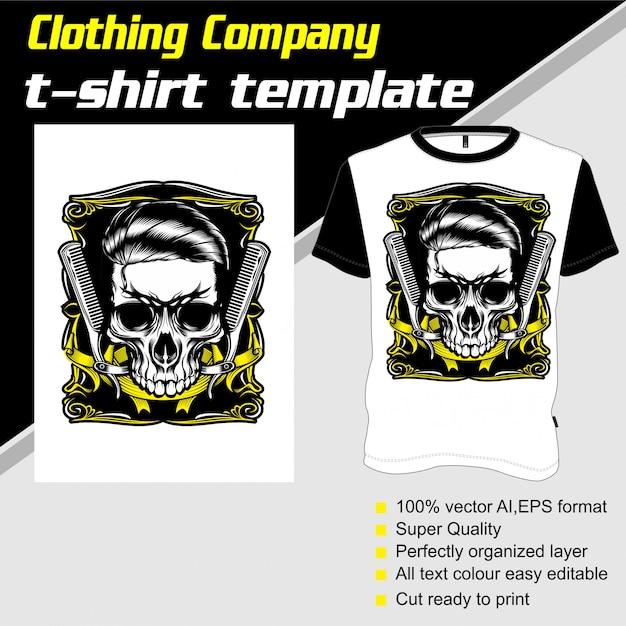 Empresa de roupas, modelo de camiseta, barbearia de caveira Vetor Premium
