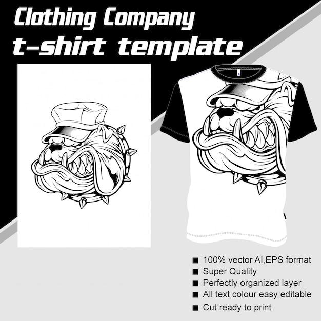 Empresa de roupas, modelo de camiseta, boné para cachorro Vetor Premium