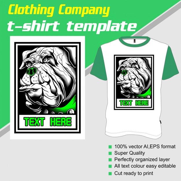 Empresa de roupas, modelo de camiseta, cachorro Vetor Premium