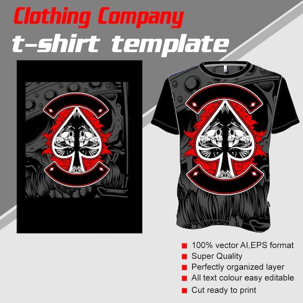 Empresa de roupas, modelo de camiseta, caveira ace ace Vetor Premium