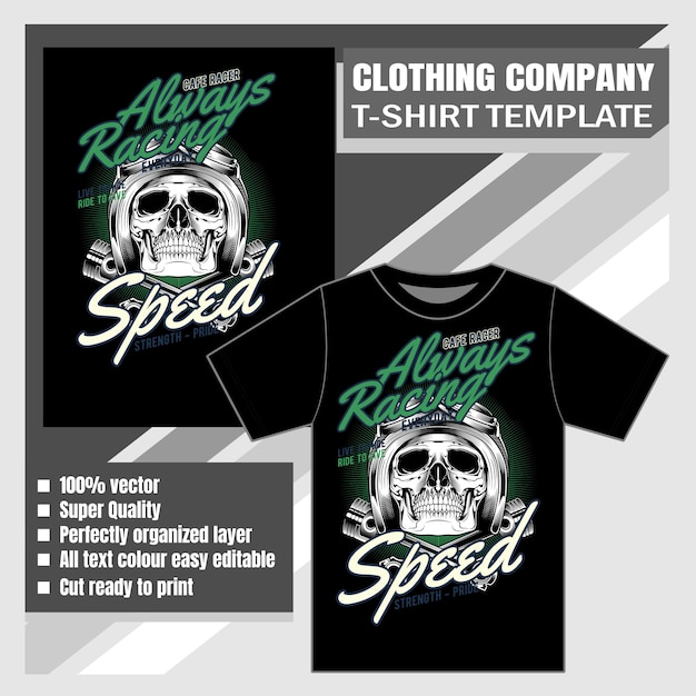 Empresa de roupas, modelo de camiseta, crânio usando capacete Vetor Premium