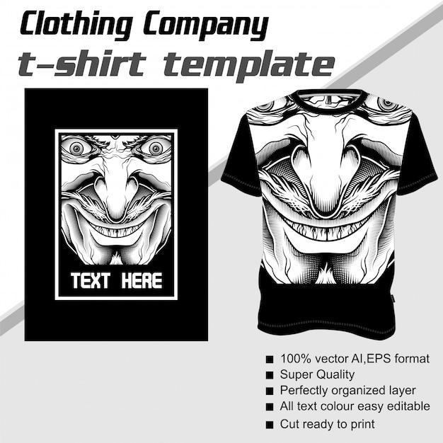 Empresa de roupas, modelo de camiseta, demônio Vetor Premium