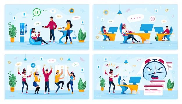 Empresa de ti, situações de trabalho de escritório conjunto plano Vetor Premium