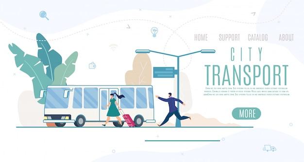 Empresa de transporte urbano, modelo de site de serviços ou página de destino Vetor Premium