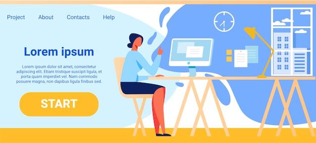 Empresa flat landing page oferecendo comece trabalhando Vetor Premium
