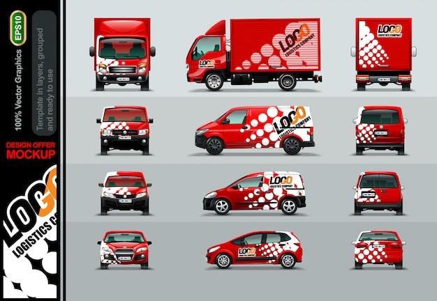 Empresa logística. ofertas de layout para o seu negócio. Vetor Premium