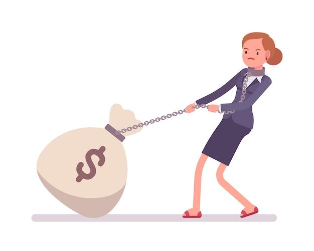 Empresária, arrastando um saco gigante de dinheiro pesado Vetor Premium