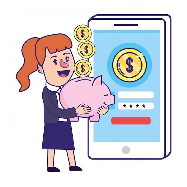 Empresária bancário planejamento financeiro Vetor Premium