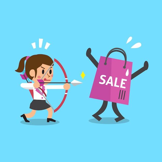 Empresária de desenho animado e sacola de compras Vetor Premium