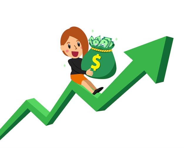 Empresária de desenho animado, segurando o saco de dinheiro na seta verde Vetor Premium