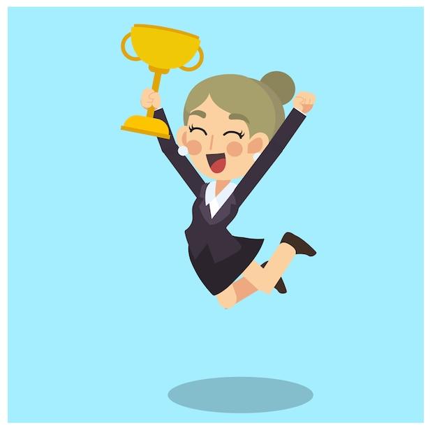 Empresária está feliz e pulando com o troféu vencedor na mão. vetor de personagem de desenho animado do conceito de negócio. Vetor Premium