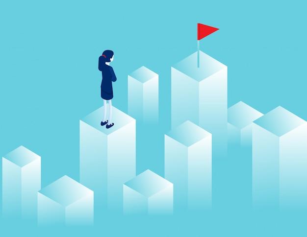 Empresária, olhando para a distância, onde há uma bandeira vermelha. objetivo de caminho Vetor Premium