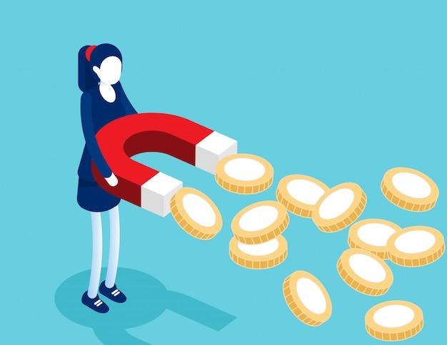 Empresária segurando ímãs para atrair moedas de ouro. Vetor Premium