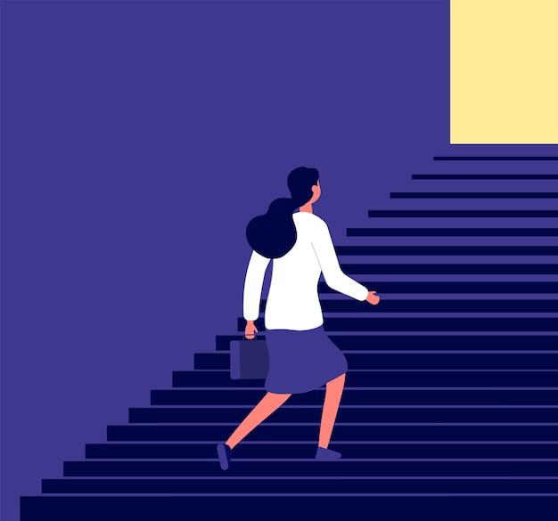 Empresária subindo escadas Vetor Premium