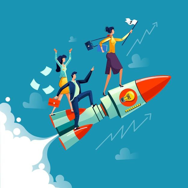 Empresária, voando no conceito de negócio de foguete Vetor grátis