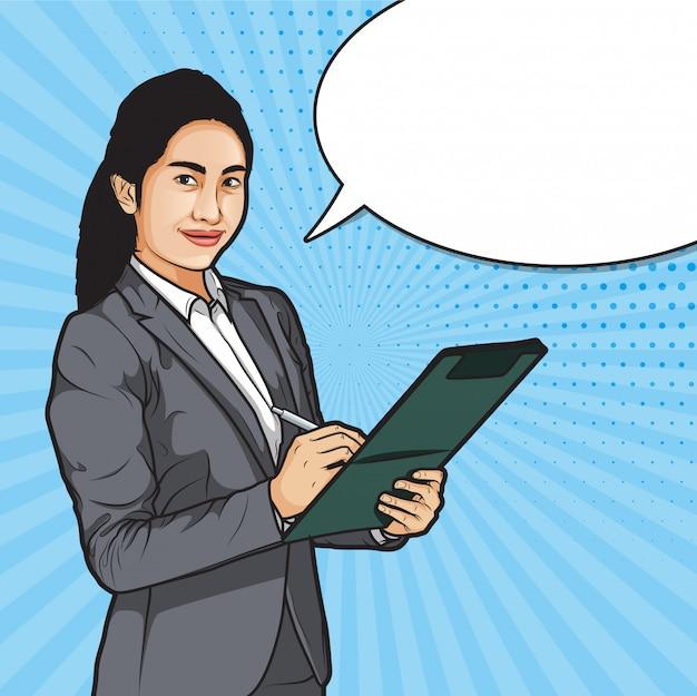 Empresárias segurando a caneta e arquivos Vetor Premium