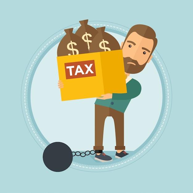 Empresário acorrentado, carregando sacos cheios de impostos. Vetor Premium