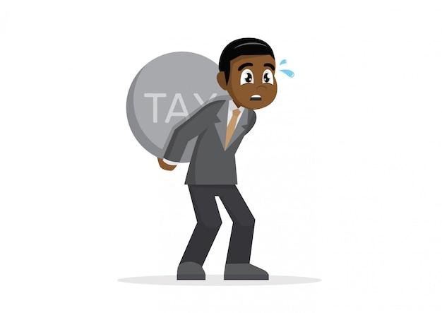 Empresário africano, carregando o imposto pesado. Vetor Premium