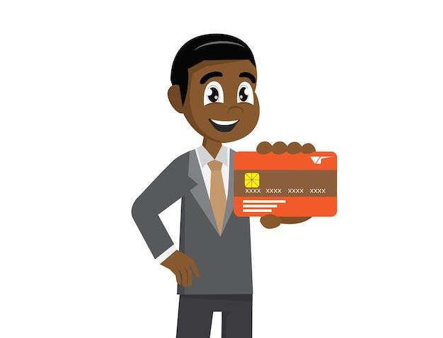 Empresário africano segurando um cartão de crédito. Vetor Premium