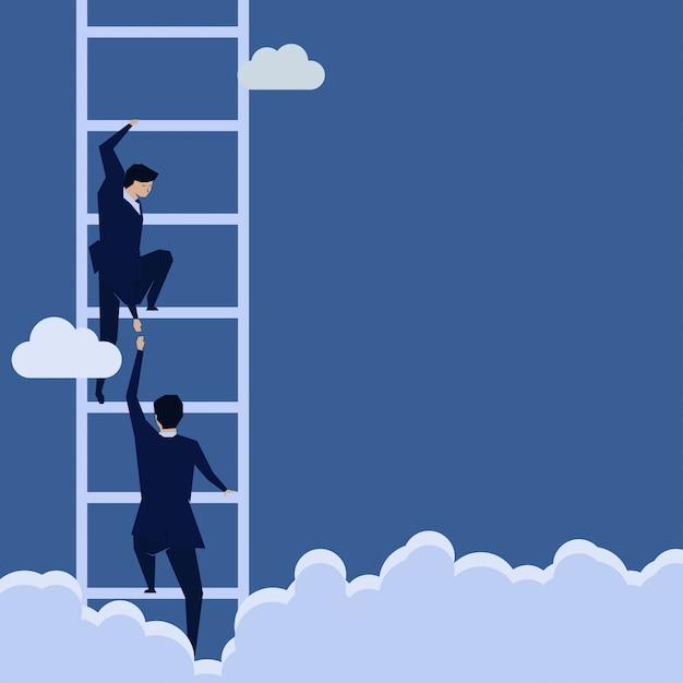 Empresário ajuda a subir a escada. Vetor Premium