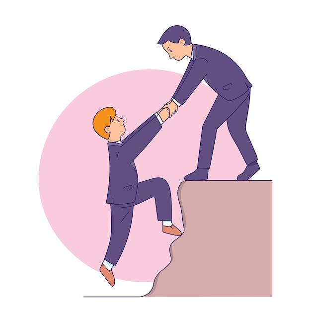 Empresário, ajudando um ao outro a alcançar a meta Vetor Premium