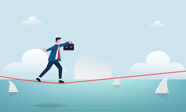 Empresário andando em equilíbrio na corda bamba com ilustração de risco. Vetor Premium