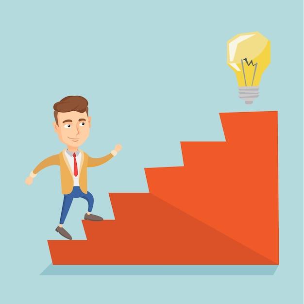 Empresário andando lá em cima para a lâmpada de ideia. Vetor Premium