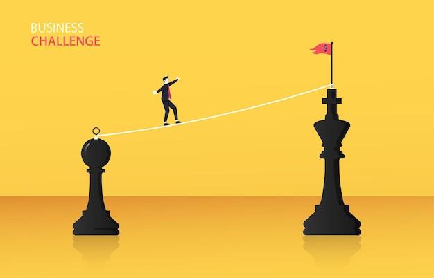 Empresário andando na corda a pé do conceito de xadrez de xadrez para rei Vetor Premium